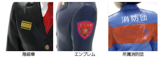 階級章、エンブレム、所属消防団名のプリントサービス